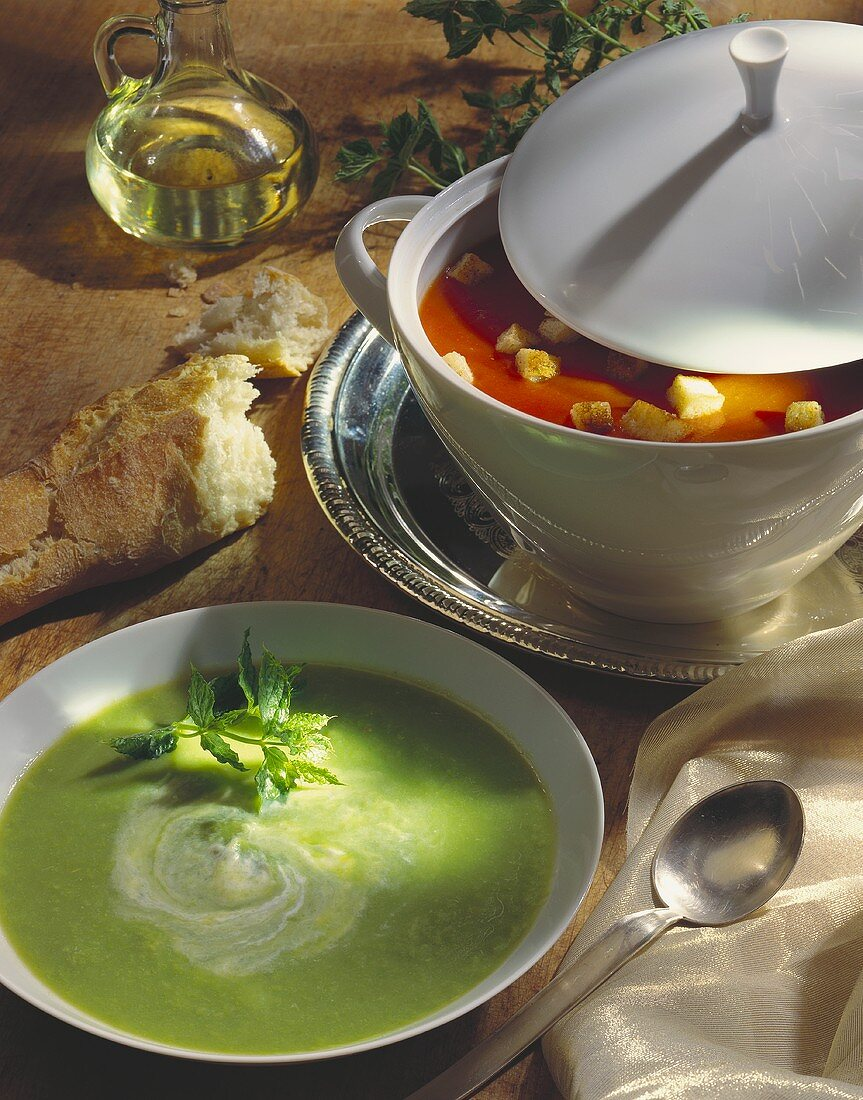 Pea soup with mint and tomato & orange soup with croutons