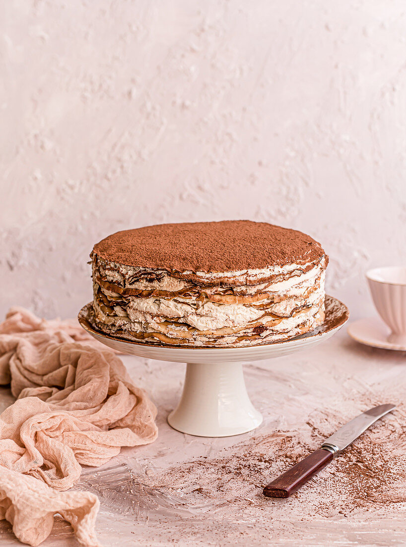 Crepes cake with cream