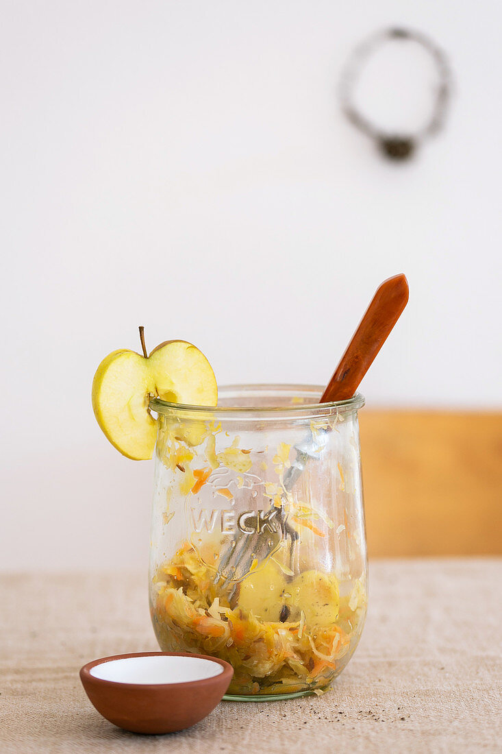 Sauerkraut and apple salad in a glass
