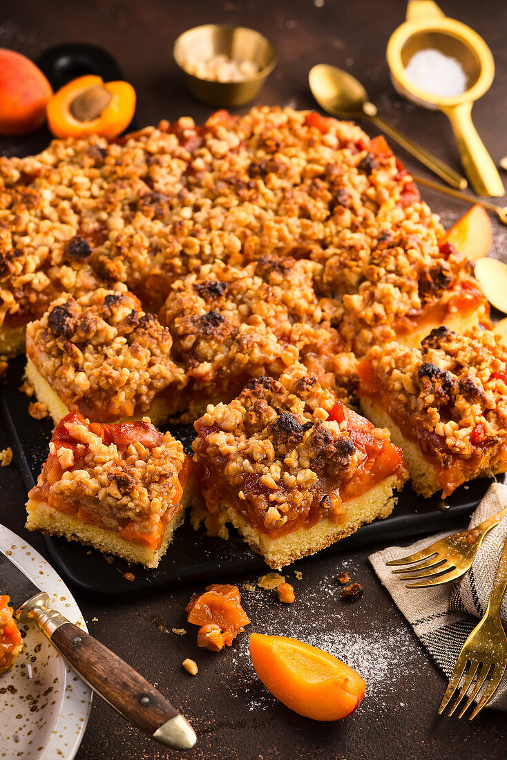 Homemade apricot pie with nut crumble