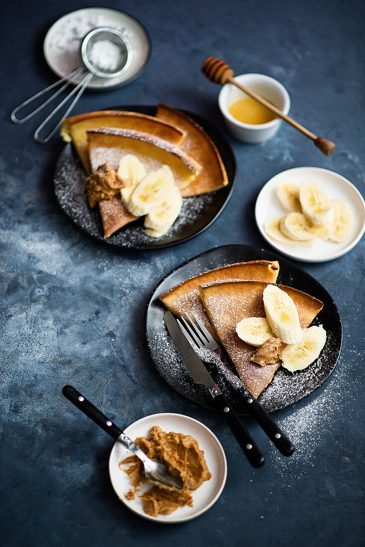 Dutch Baby with banana and peanut butter