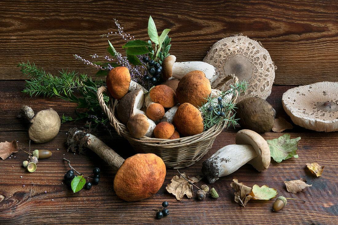 Autumn still life with fresh boletus mushrooms
