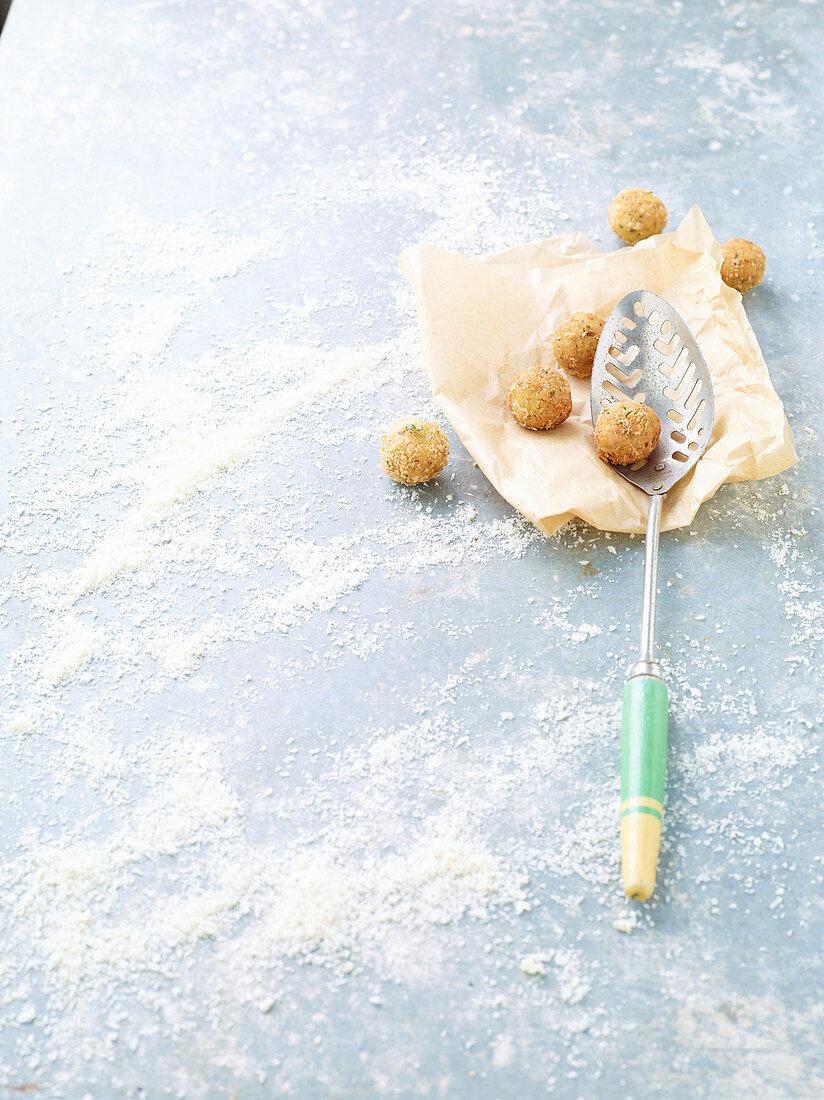 Deep-fried tempeh balls