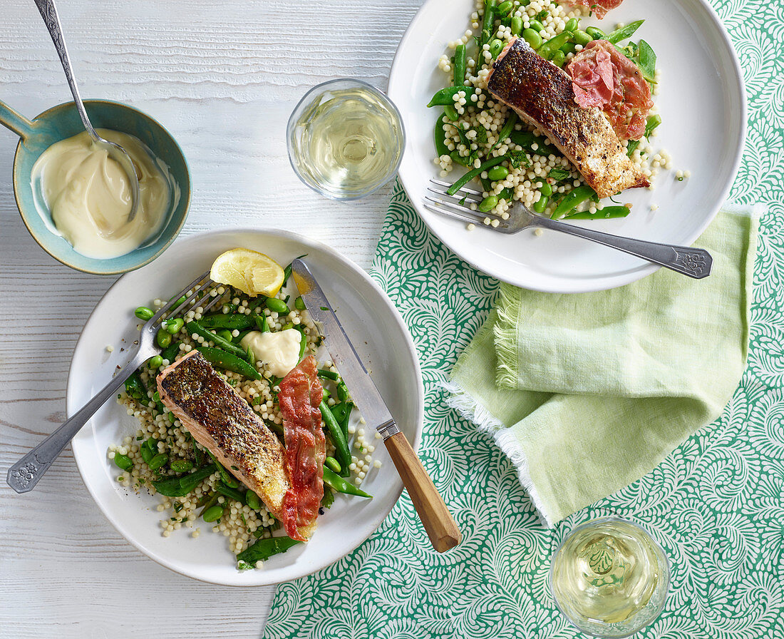 Seared crisped salmon with giant couscous and aioli