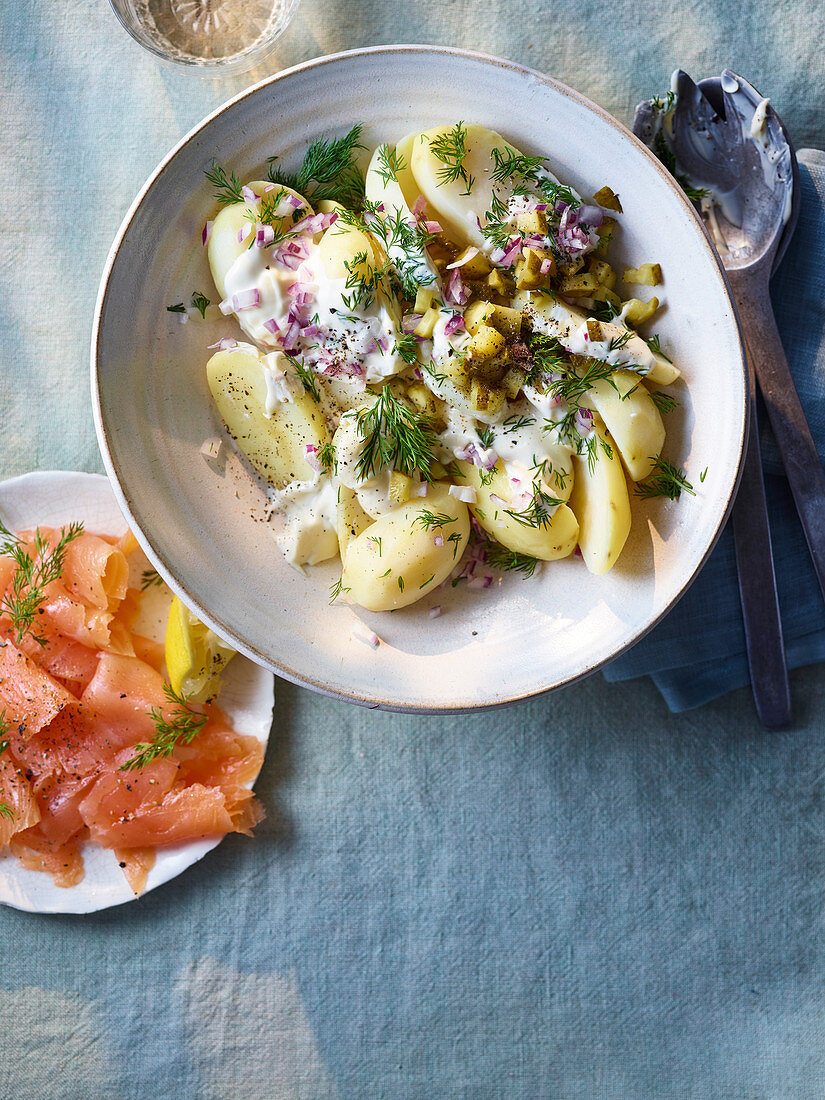 Heavenly potato and dill salad with gravlax