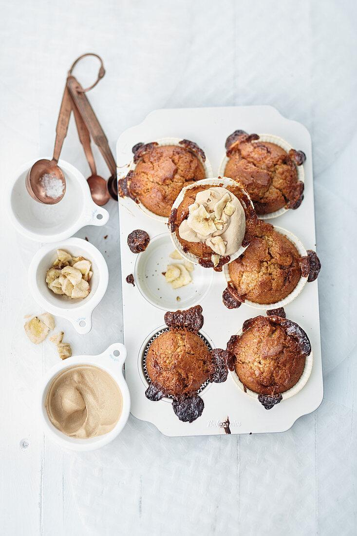 Caramel Candy and Banana Muffins