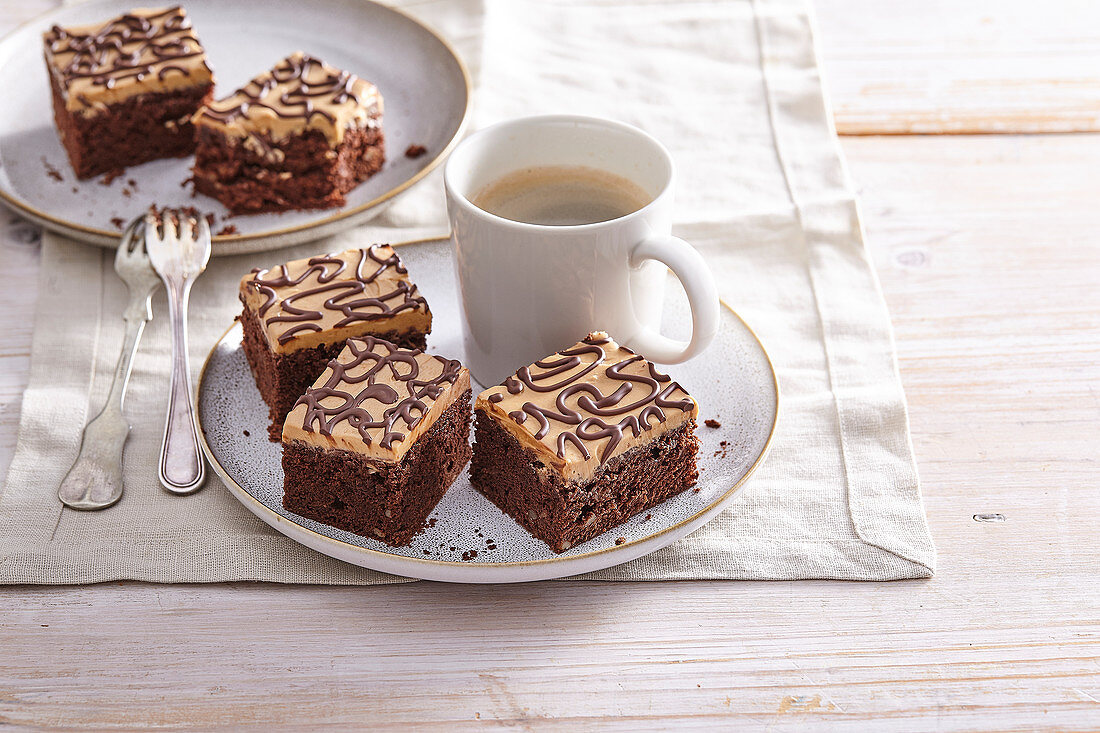 Caramel brownies with walnuts