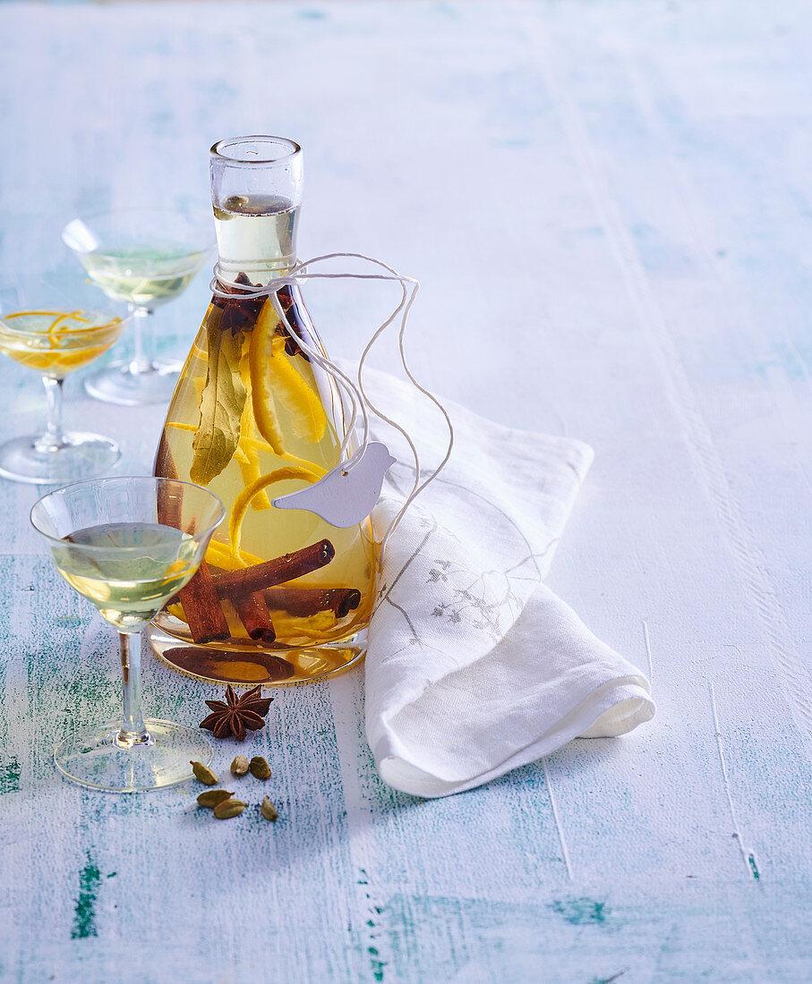 Homemade orange liqueur 'Arancello'