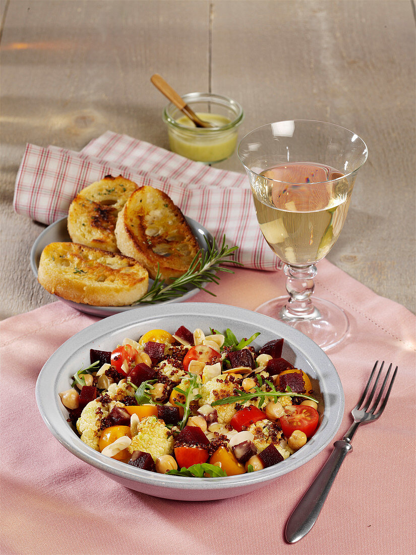 Cauliflower salad with cherry tomatoes and jalapeño dressing