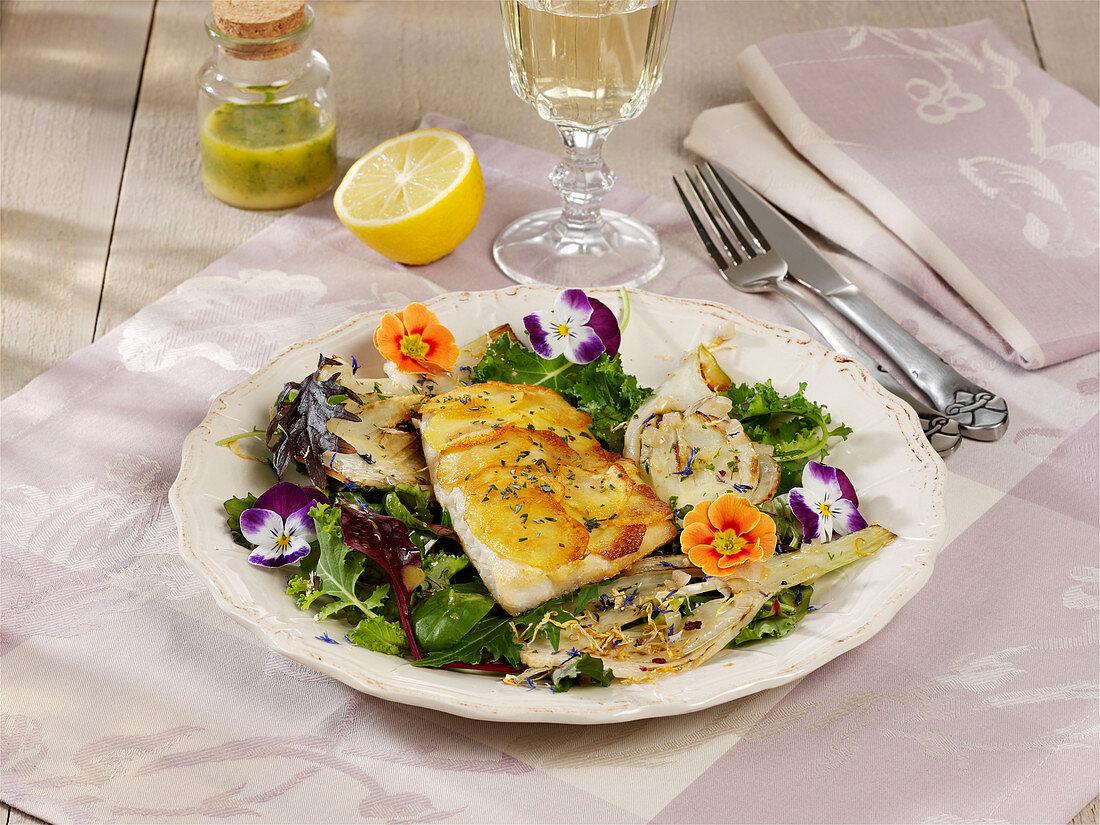 Zander with a potato crust and wild herb salad