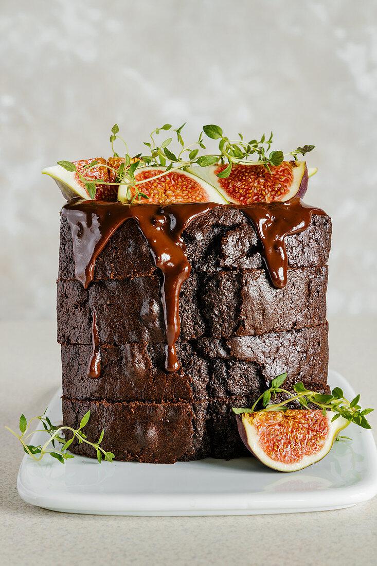 Chocolate fig loaf cake