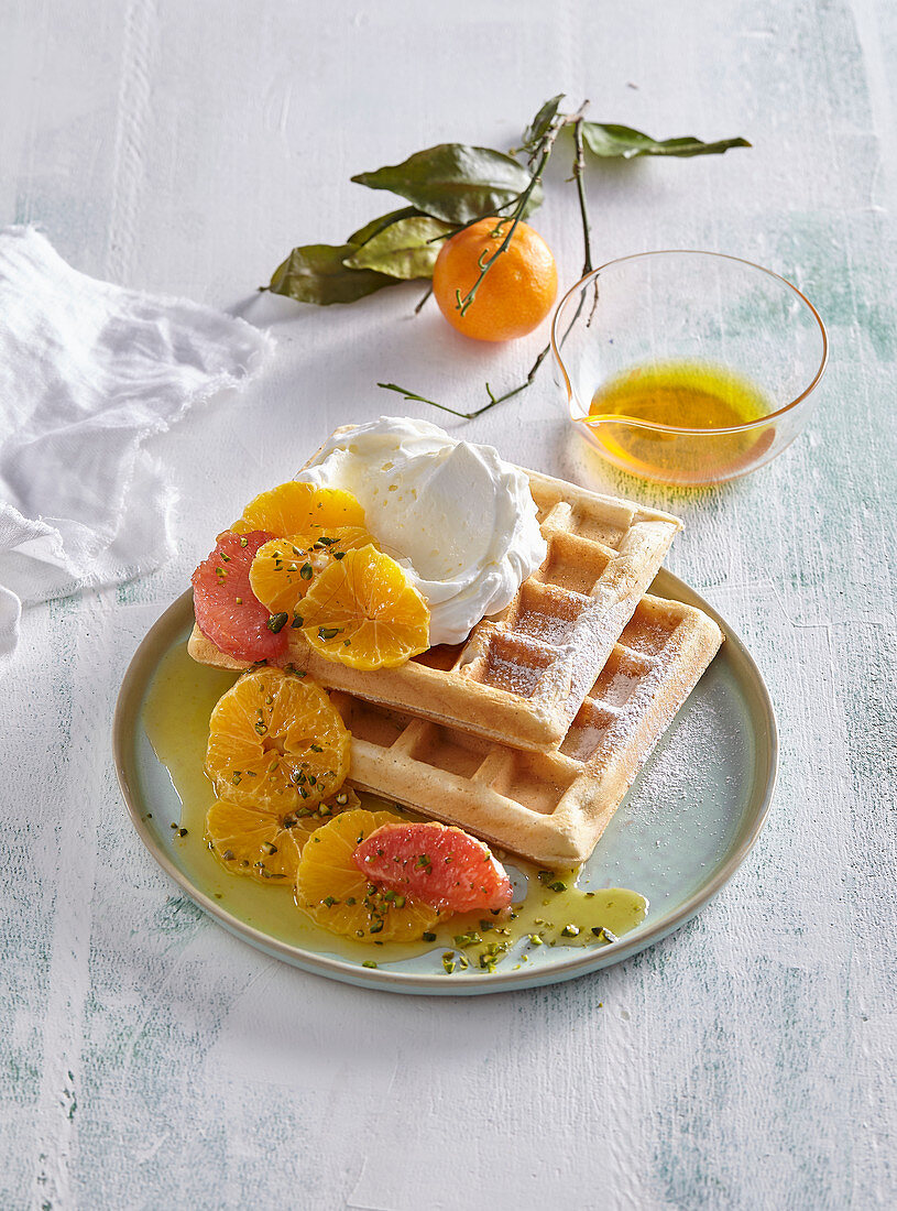 Waffles with hot citrus and cottage cheese