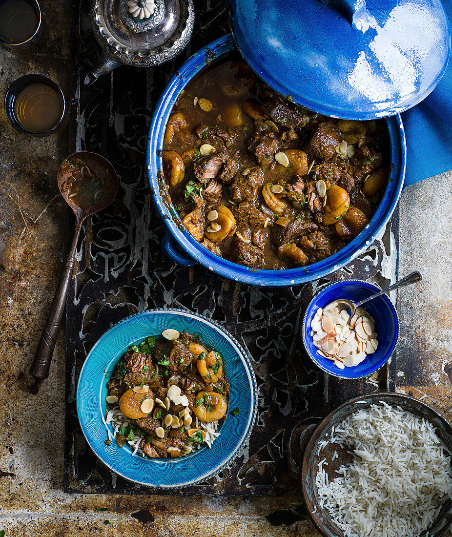 Slow-cooked pork, apricot and tamarind stew