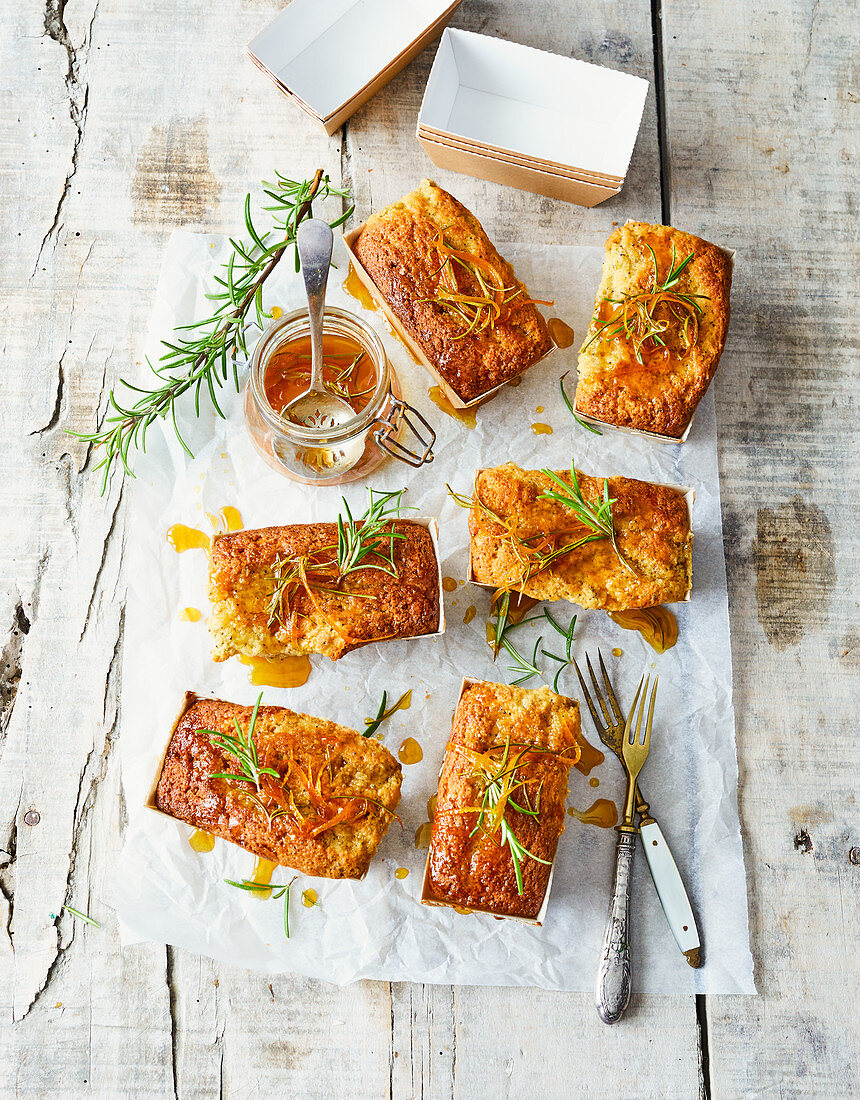 Orange, honey and rosemary drizzle cakes