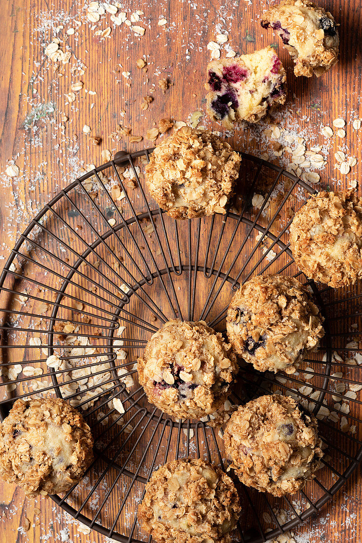 Homemade mixed berry muffins with oat crumble topping