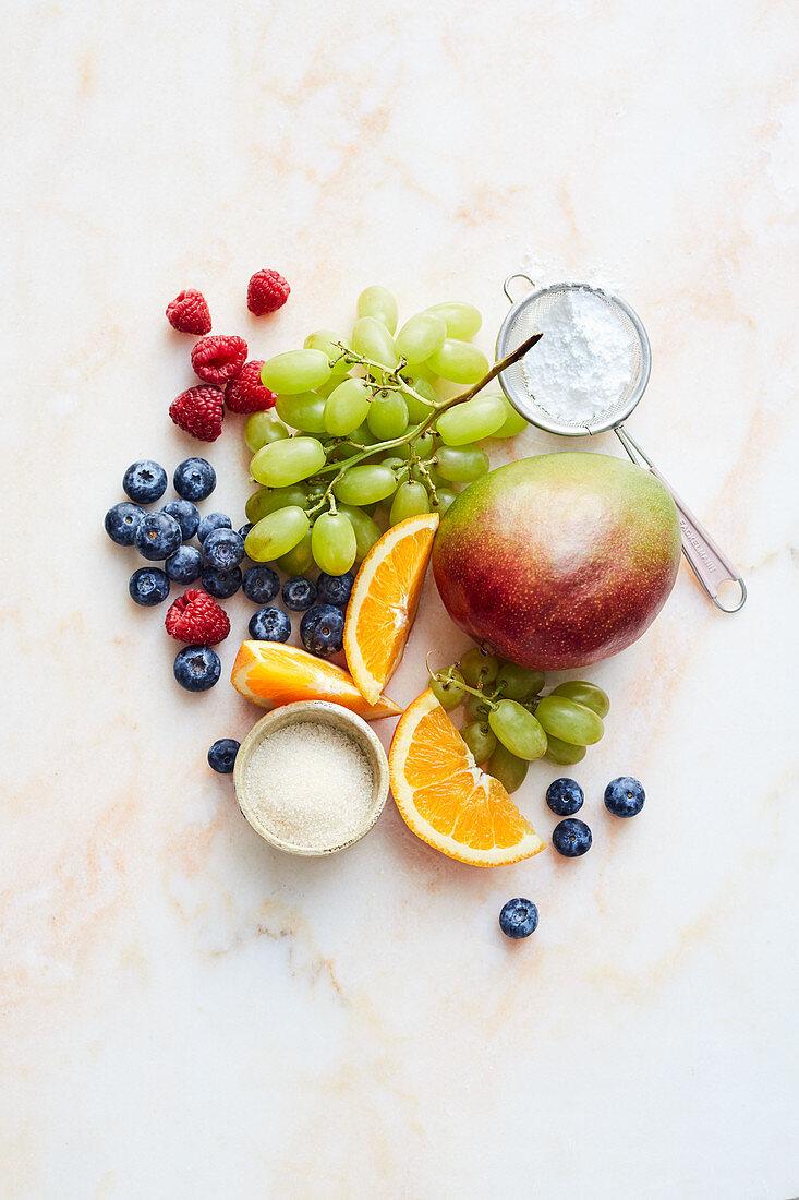 Früchte und Zucker