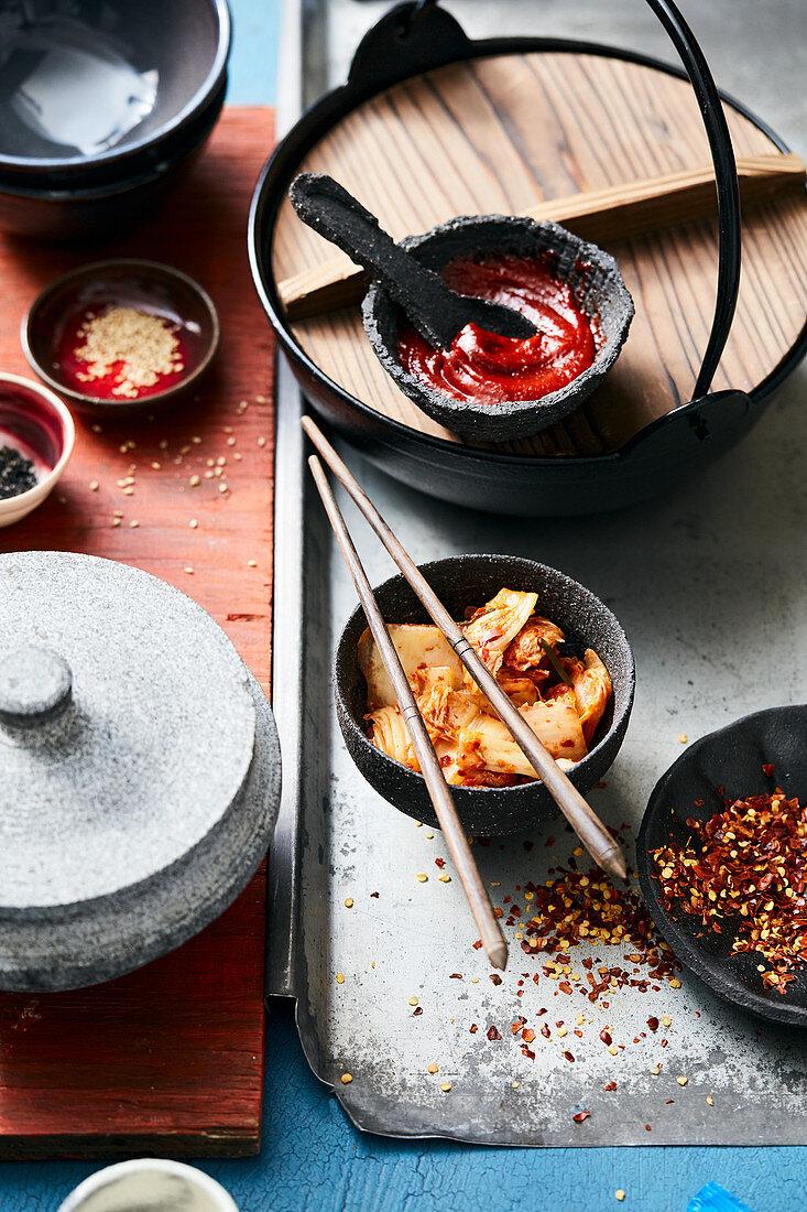 Kimchi, chilli flakes and dips (Korea)