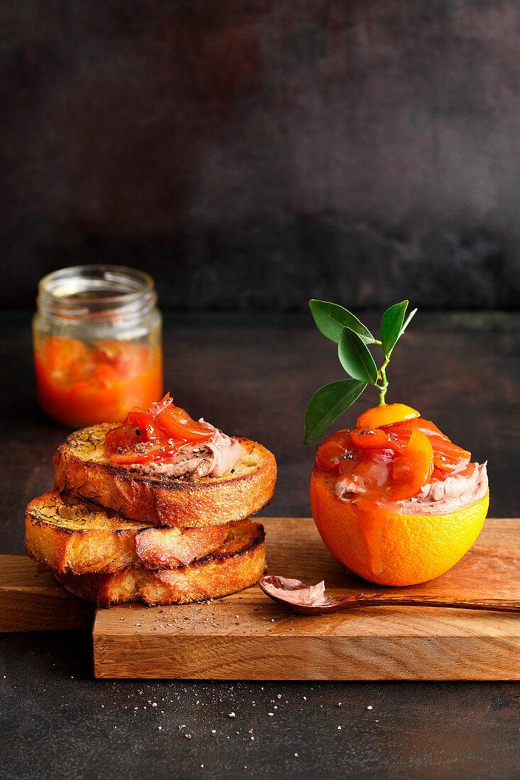 Kumquat compote with foie gras