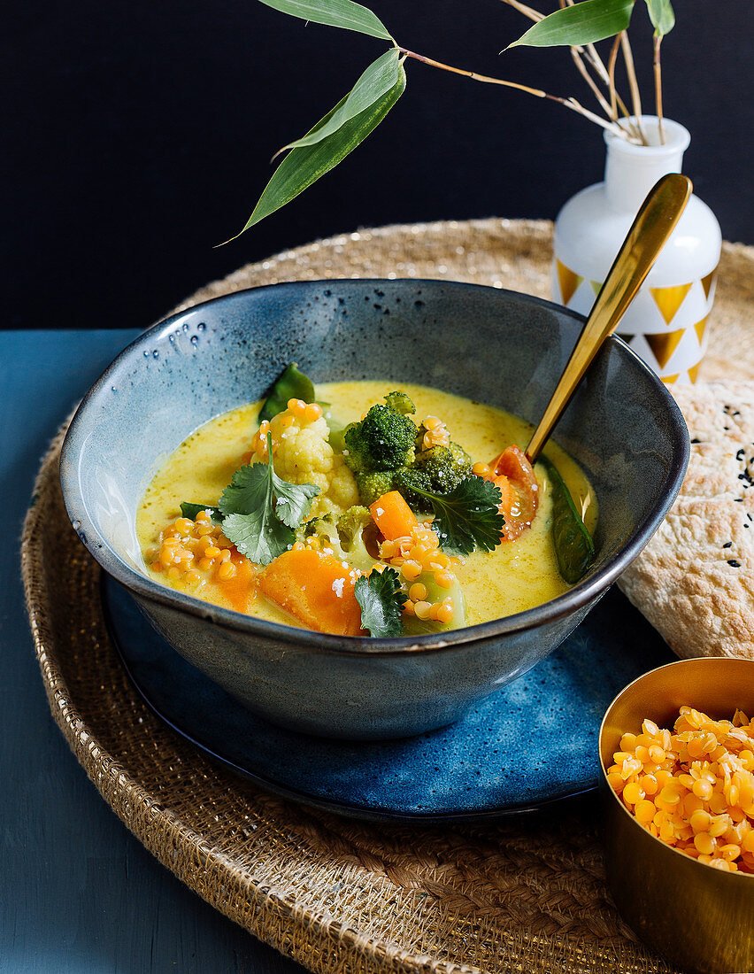 Lentil curry with sweet potatoes and coconut milk