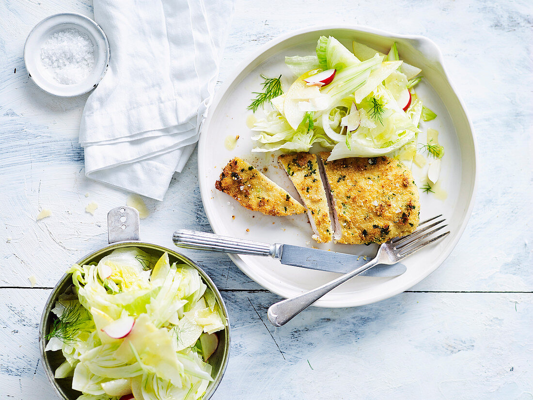 Almond Crusted Chicken Schnitzel with Fennel and Nashi Salad