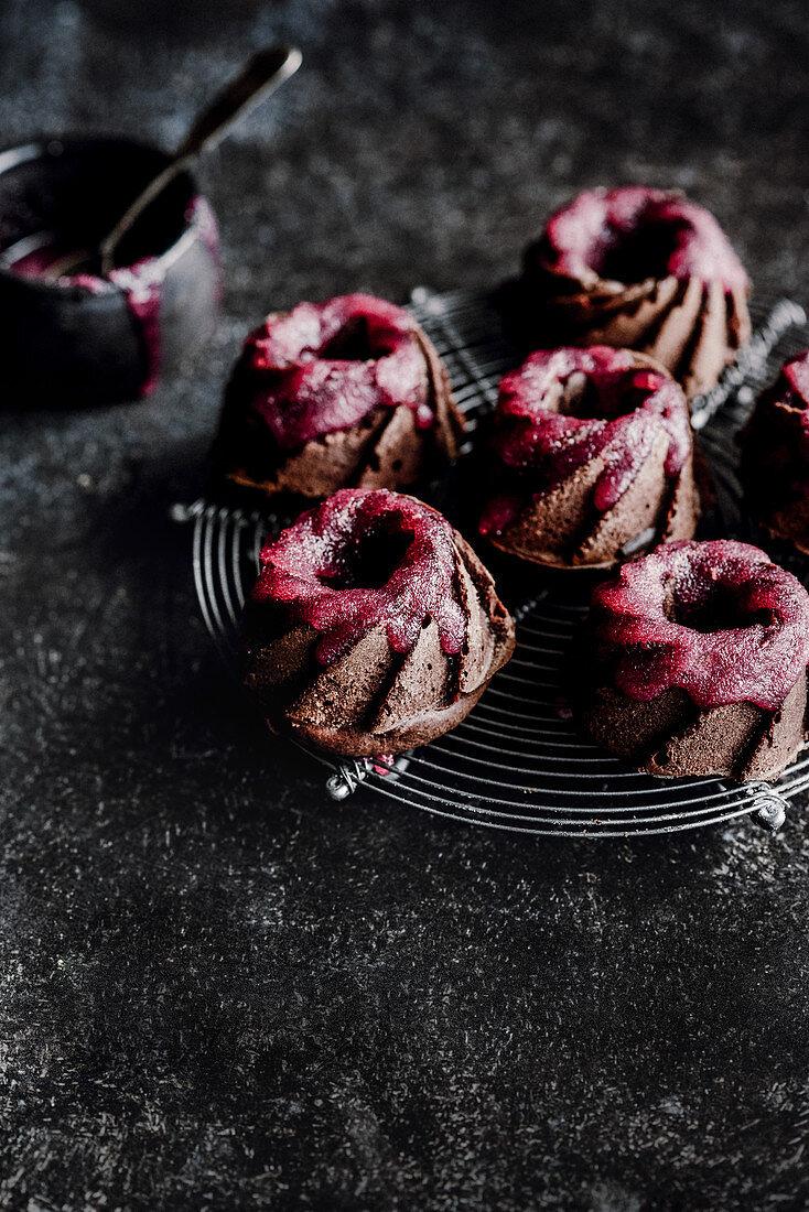 Mini chocolate cupcakes with raspberry icing