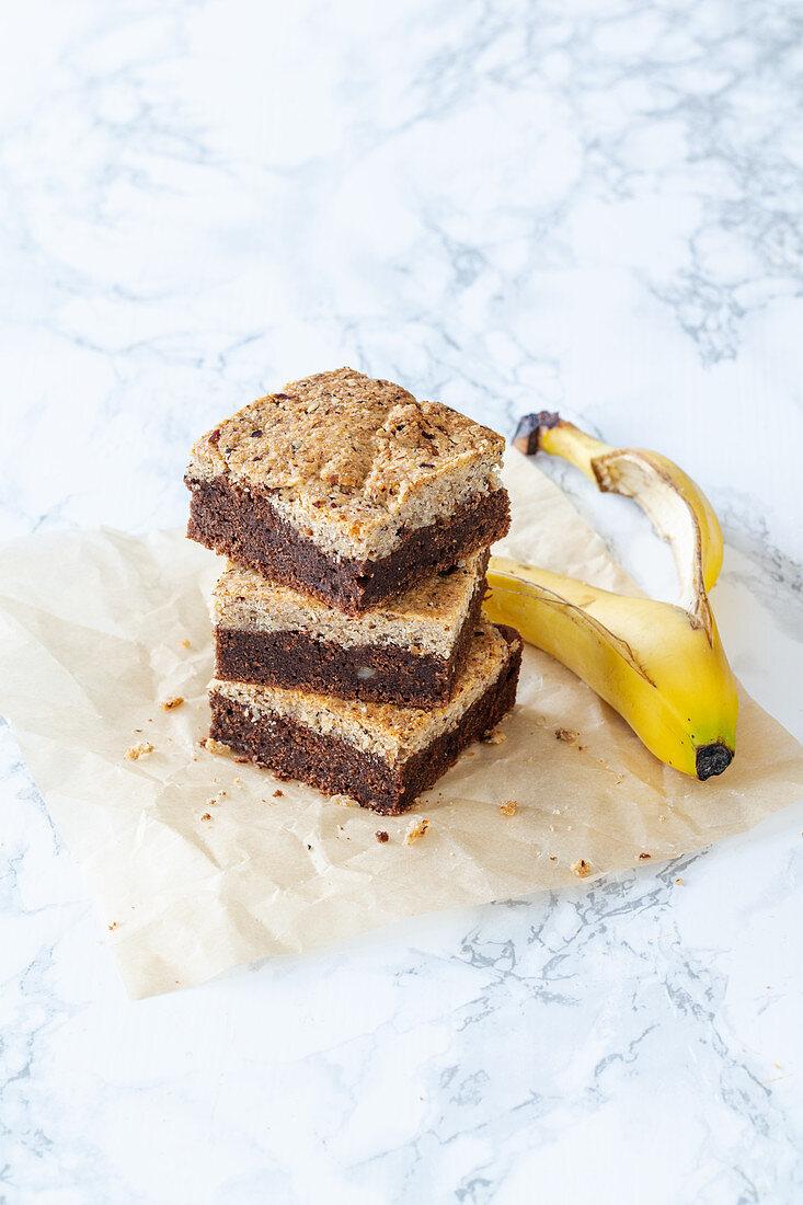 Banana Hazelnut Brookie (brownie with cookie crust), gluten-free