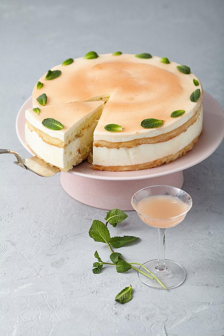 Almond sponge cake with buttermilk panna cotta