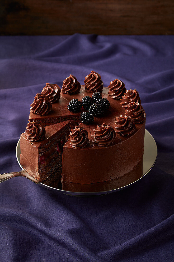 Chocolate chilli cake with blackberries