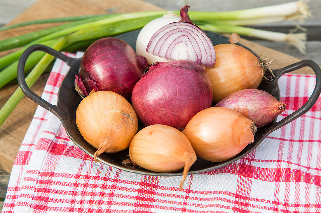 Different types of onions in a pan