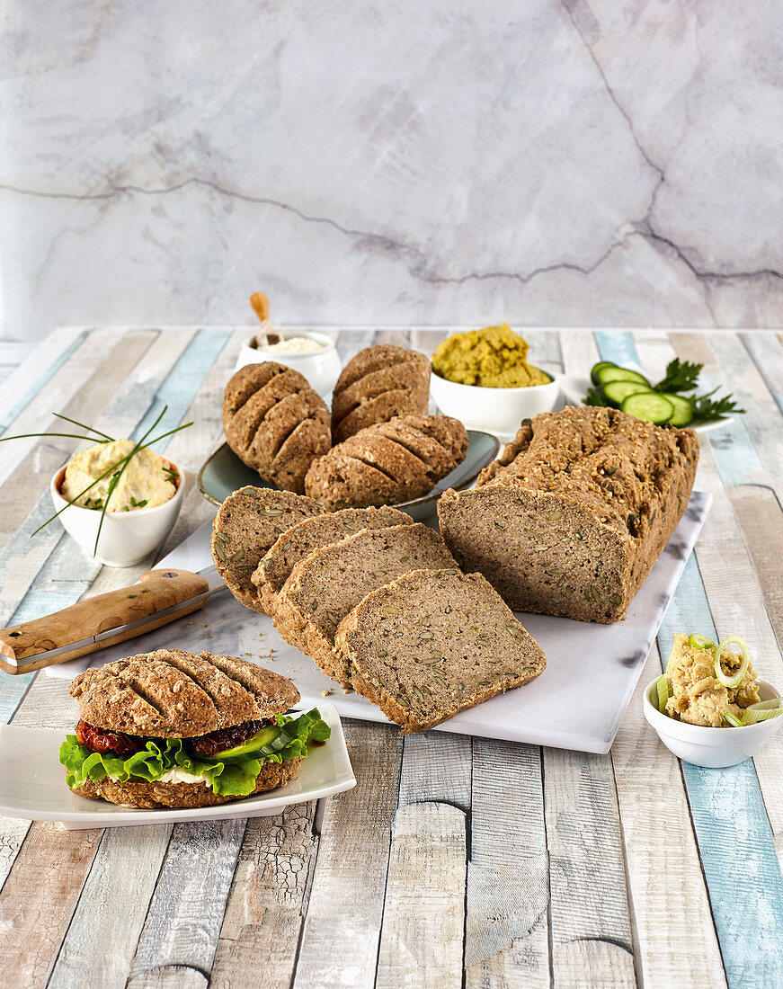Millet bread and rolls with flax seeds and nuts