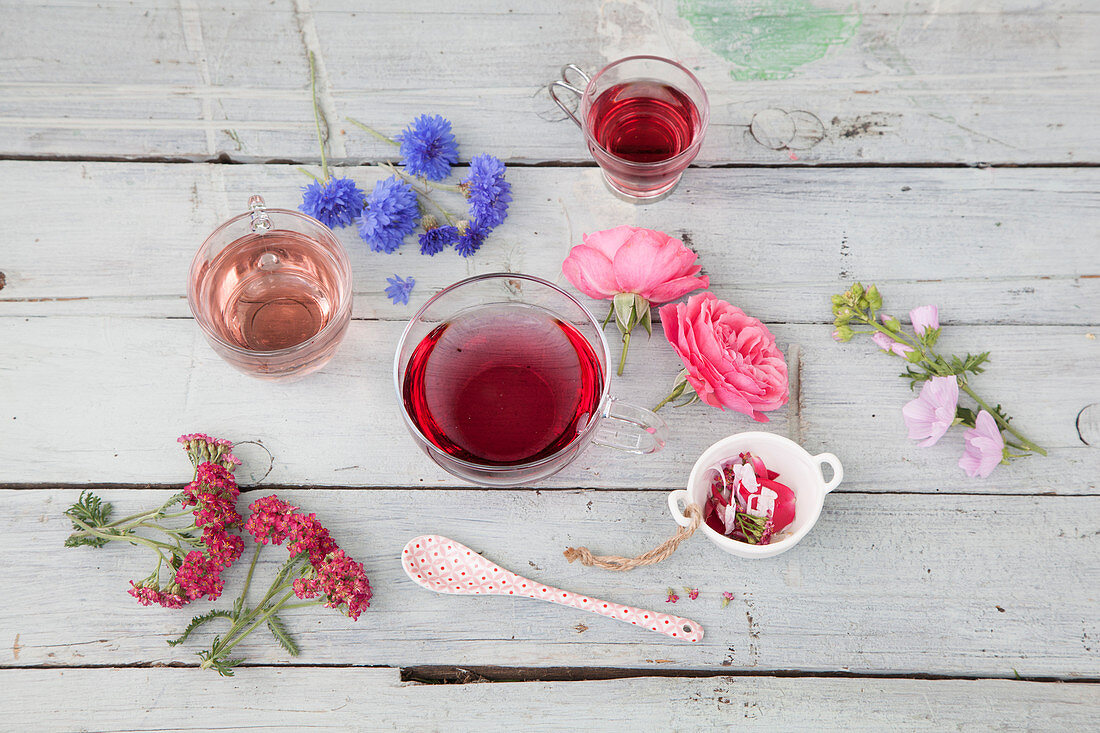 Flower tea with roses, mallow, yarrow and cornflower