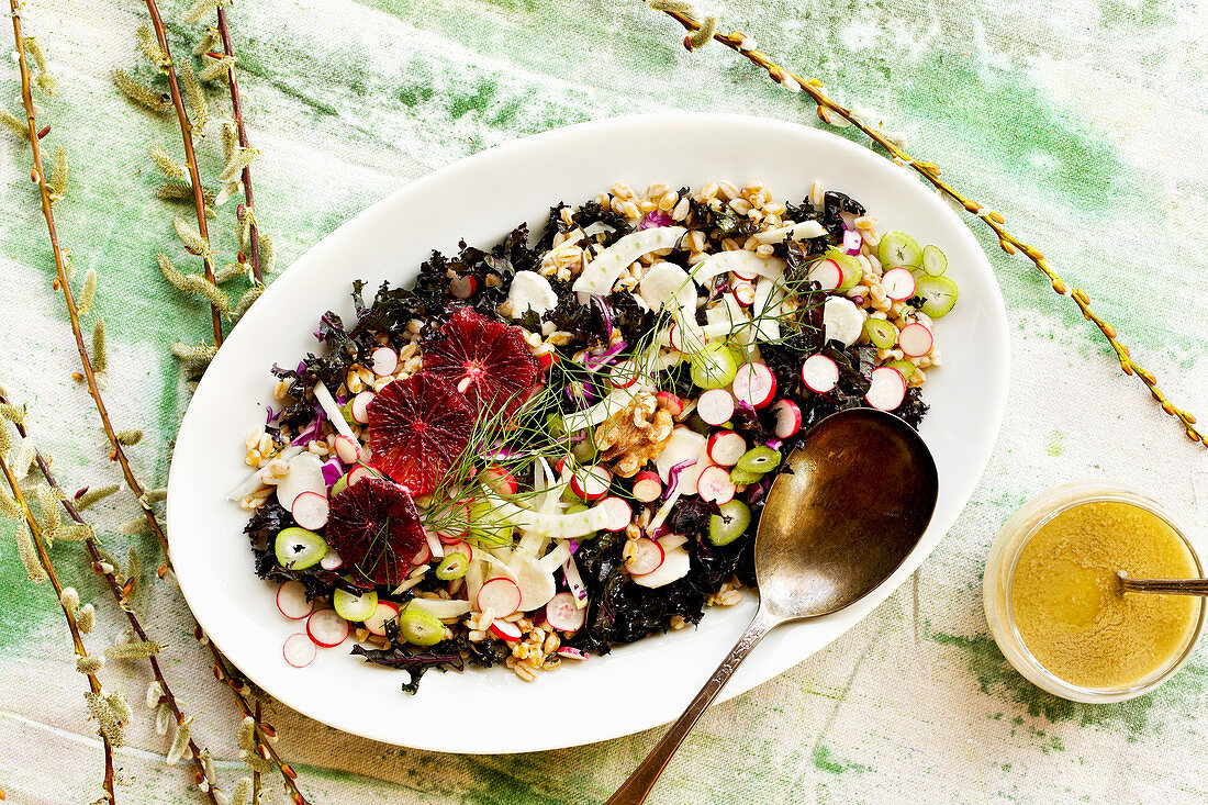Mediterranean Farro Salad with Toasted Walnut Vinaigrette