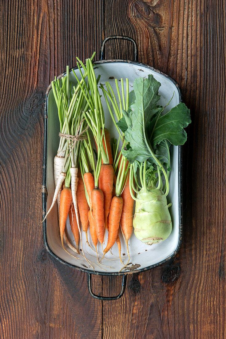 Parsnips, carrots and kohlrabi