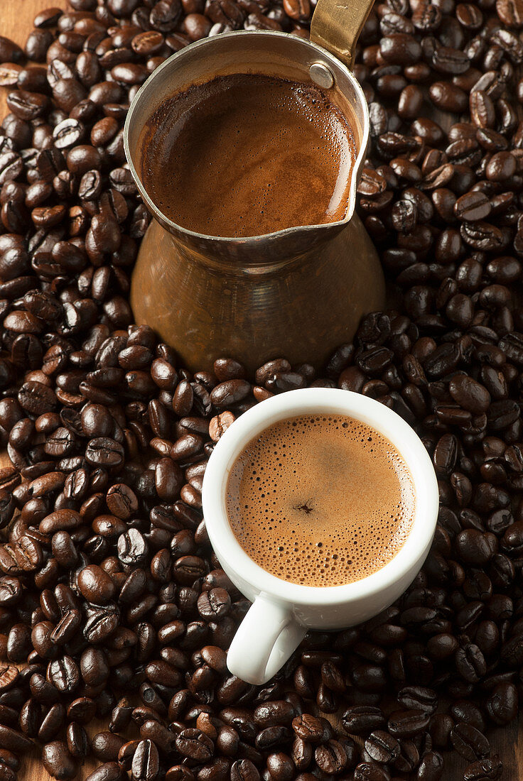 Greek coffee with beans