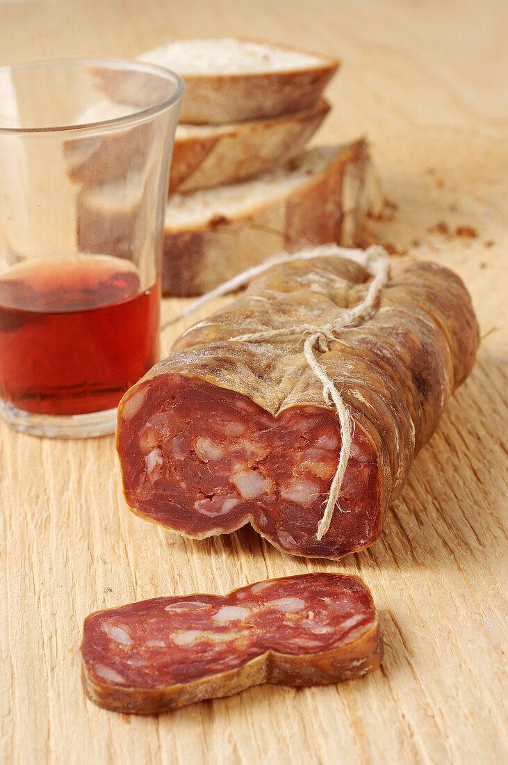 Soppressata di Martina Franca (sausage specialty from Apulia, Italy)