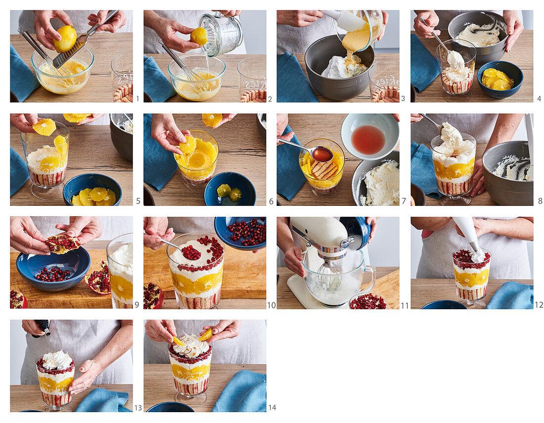 Preparing grapefruit and orange trifle