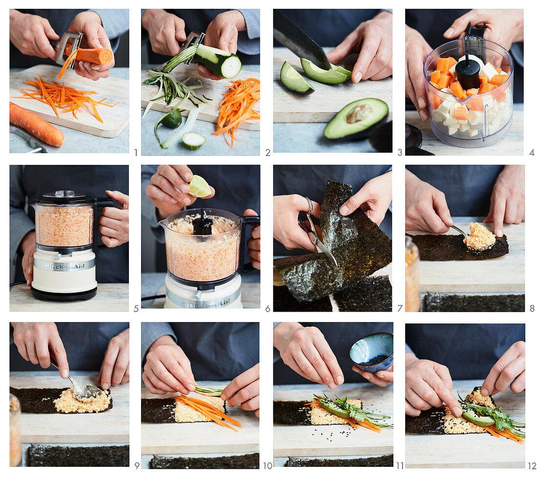 Preparing temaki with vegetable rice, avocado and herbs
