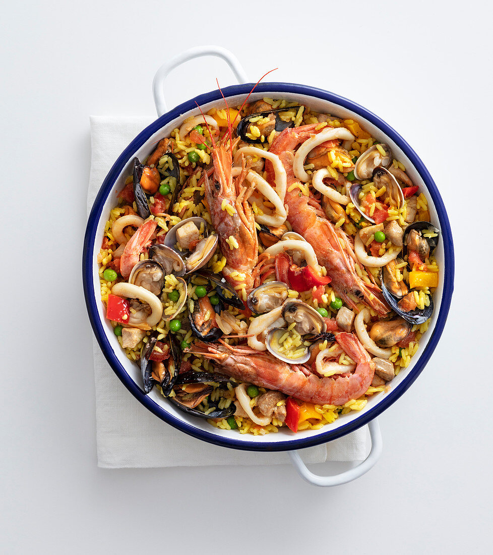 Meat and seafood paella