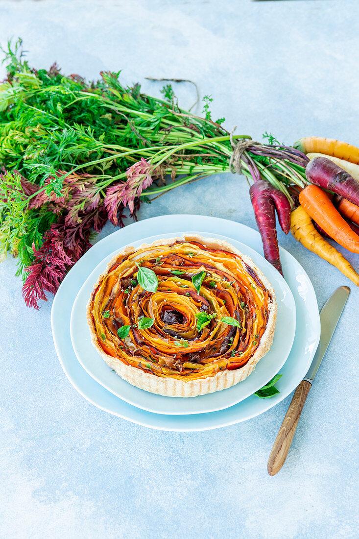 Carrots spiral pie