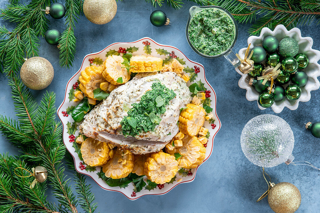 Roasted turkey with corn cobs for Christmas