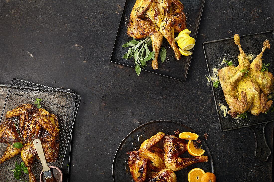 Four types of fried chicken - polenta, anise-orange, cajun, butter-lemon