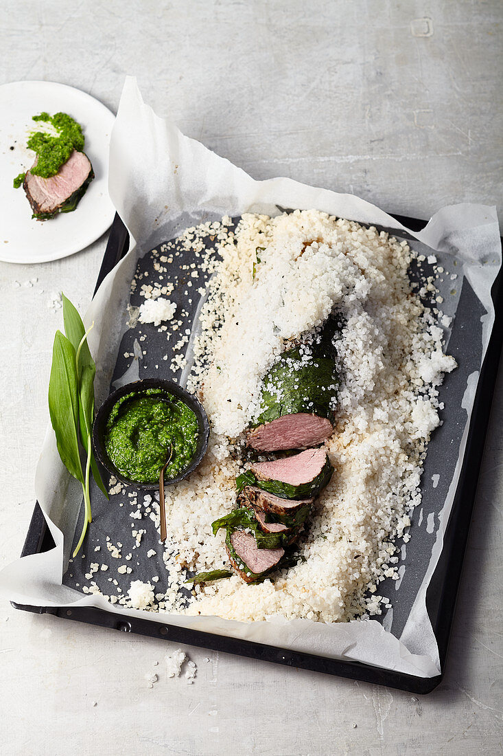 Veal fillet cooked in wild garlic and sea salt