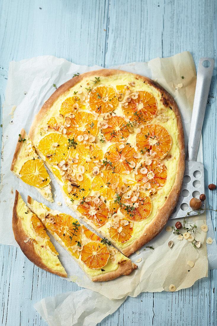 Blood orange tart with lemon thyme