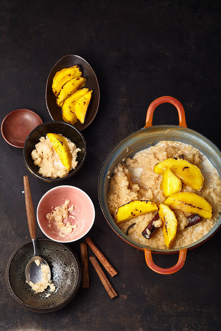 Oven cooked Rice pudding with grilled mango