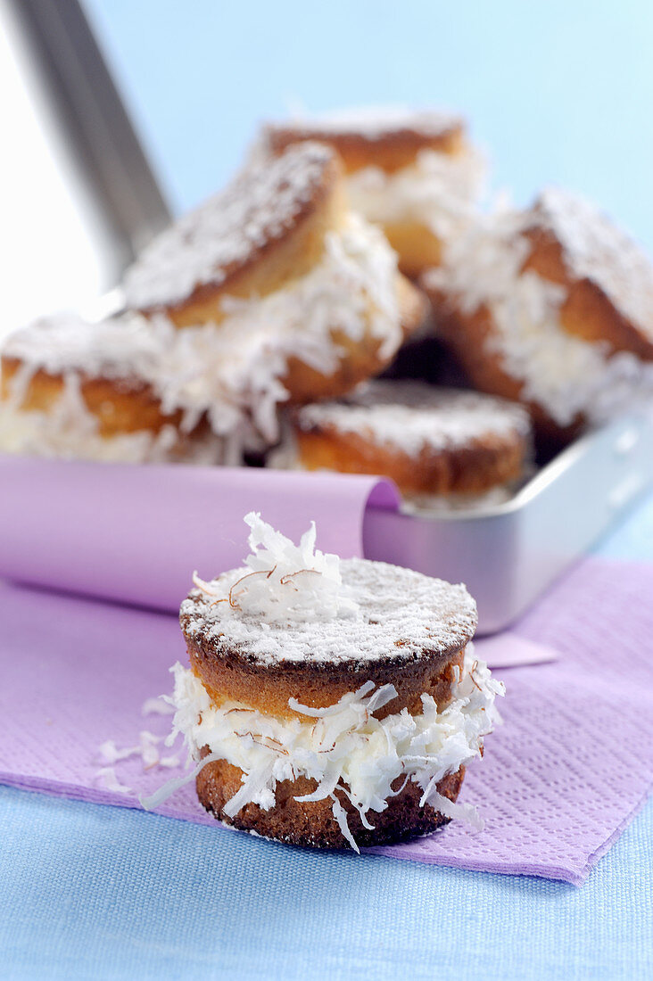 Coconut muffins with cream filling