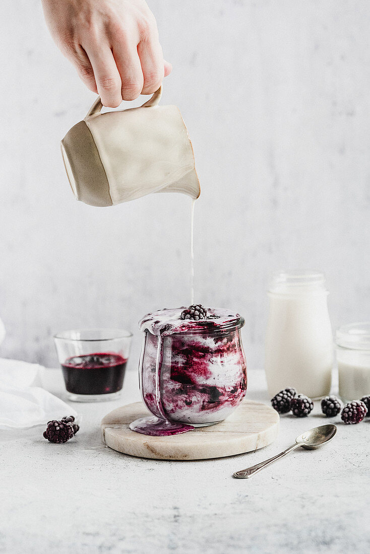 Almond milk cocktail with blackberries