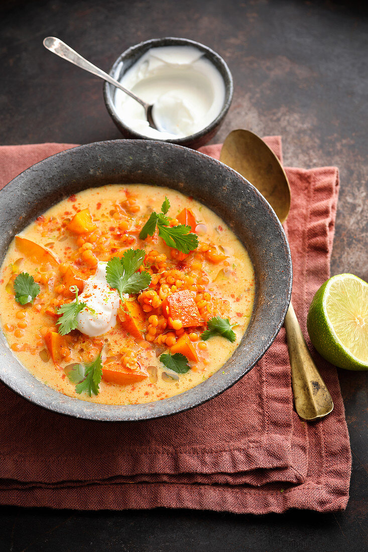 Indian veggie stew with lentils and pumpkin