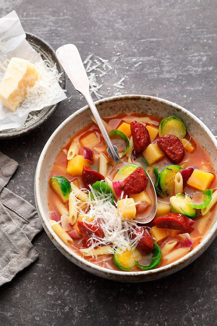 Minestrone with turnips and Brussels sprouts