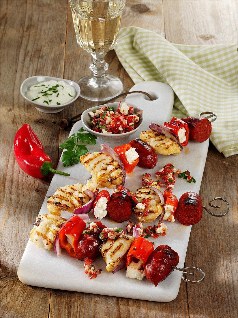 Grilled monkfish and chorizo skewers