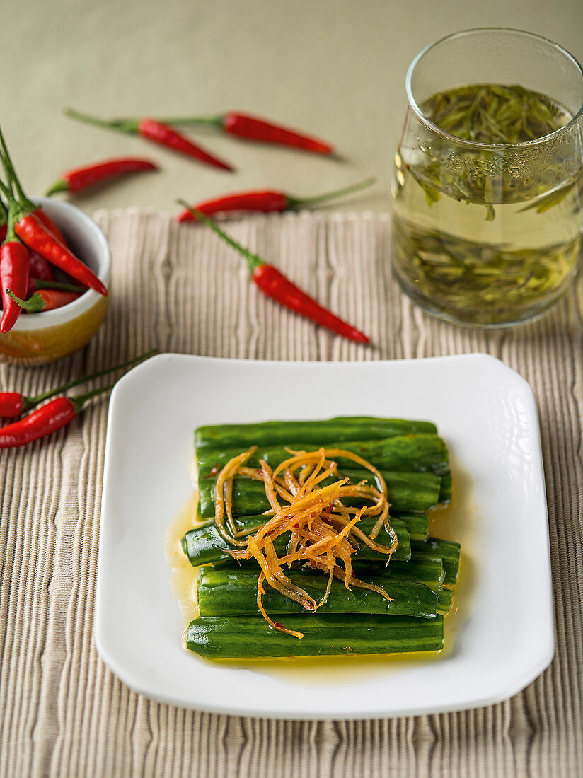 Pickled cucumber with ginger and chilli